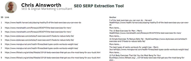 Chris Ainsworth's SERP Extraction Bookmarklet ابزار رایگان سئو 2020