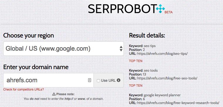 SERProbot ابزار رایگان سئو 2020