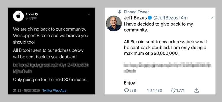 حک حساب اپب و جف یزوس در توییتر