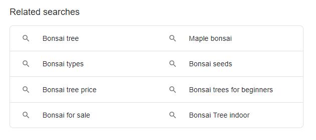 ظاهرهای کاربری تست شده برای جستجوهای مرتبط گوگل